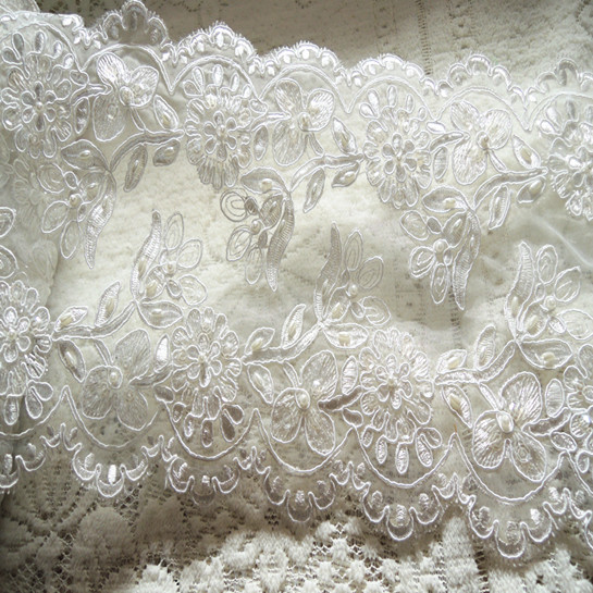 21cm wide wedding beaded lace for dresses bridal heavy for Wedding dress trim beading