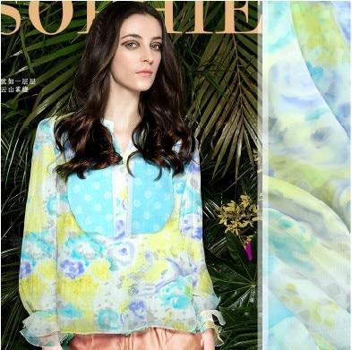 110*240 cm de large 9mm bleu jaune impression en mousseline de soie tissu pour robe chemise vêtements