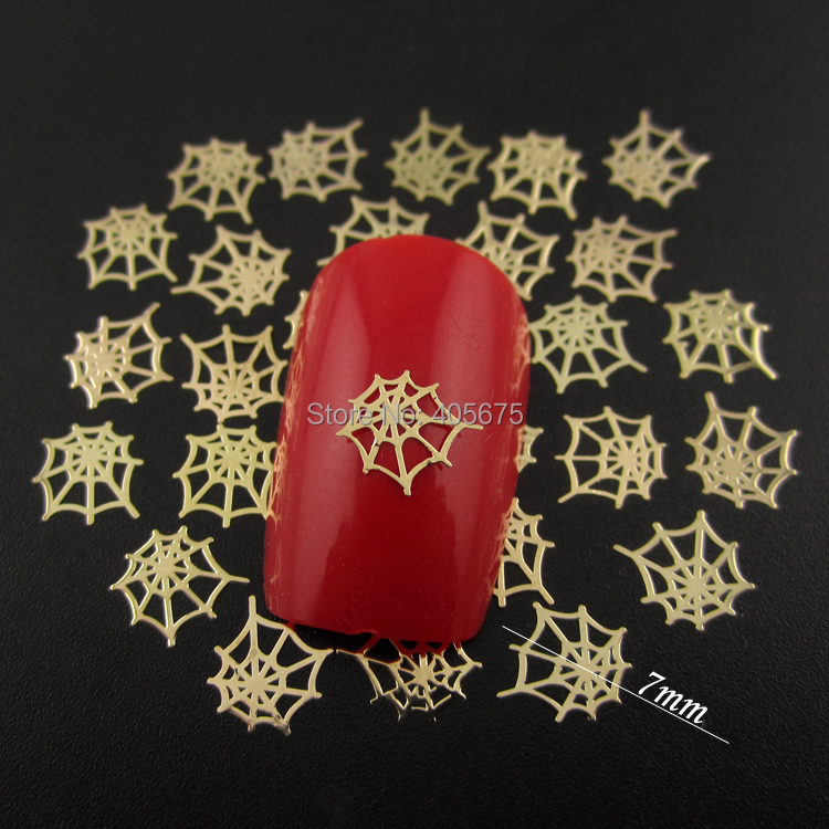 mns592 1000pcspack nails decorations new arrive spider net nail design halloween decoration metallic gold