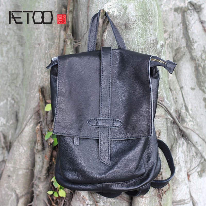 AETOO Casual shoulder bag female new leather Soft leather plain leather backpack Genuine The first layer