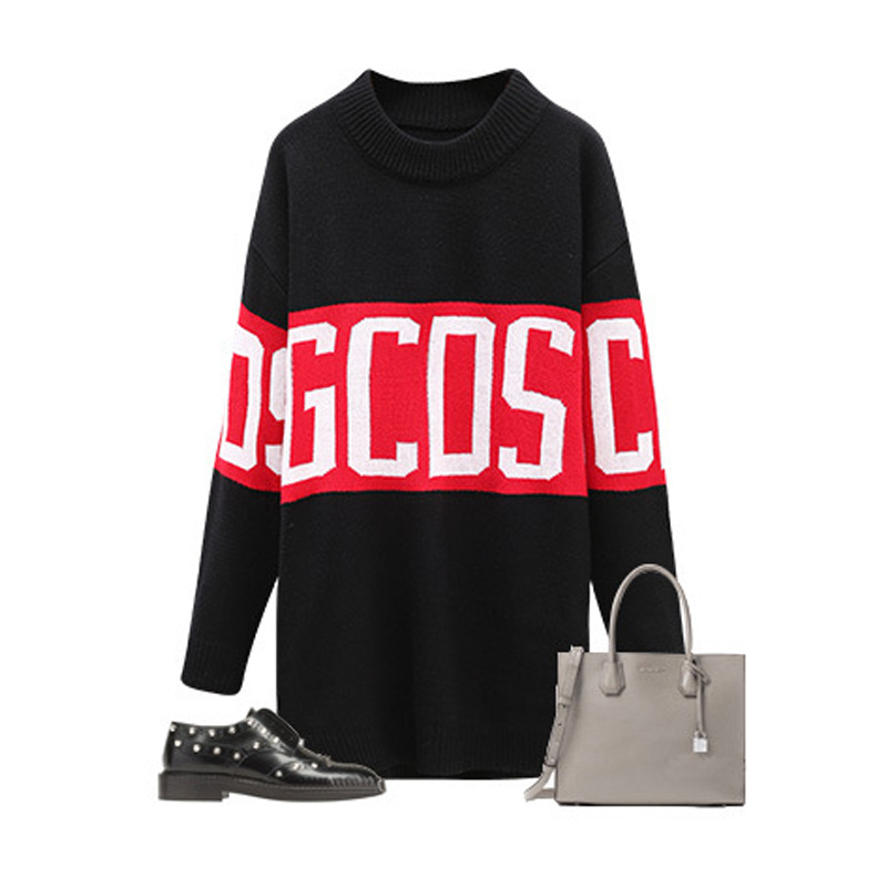 Harajuku Casual Hip Hop Punk Top Femme Long GCDS Letter Pattern Loose Knitted Pullover Thick Women Autumn Winter Ribbed Sweater