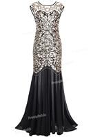 PrettyGuide Women S 1920s Black Sequin Gatsby Floor Length Evening Party Dress Trumpet Maxi Long Dress