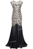 PrettyGuide Women S 1920s Black Sequin Gatsby Floor Length Evening Party Dress Trumpet Maxi Long Dress