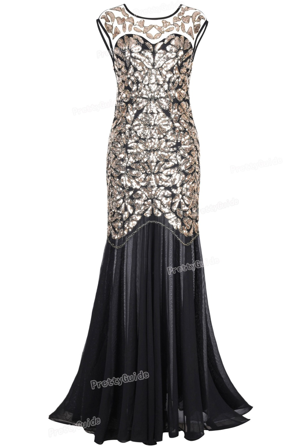 PrettyGuide Women 's 1920s Black Sequin Gatsby Floor Length Evening Party Dress Trumpet Maxi Long  Dress