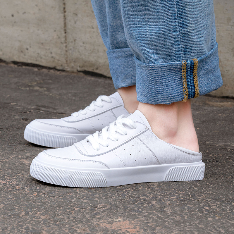 2019 White Sneakers Women Leather Lace Up Fashion Comfortable Casual Shoes 2cm