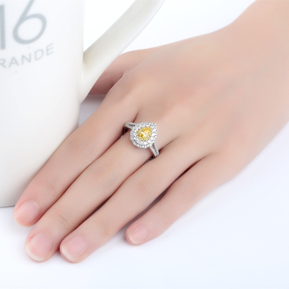 Classic Fashion Yellow High Carbon gem Water drop Rings Engagement ...