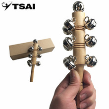 TSAI hotsale Bell Stick Shaker instruments wood rattle child musical instrument Kids Toy Handle Wooden For Children Gift