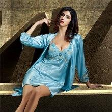 купить Xifenni Robe Set Female Silk Satin Sleepwear Women Lace Embroidery Two-Piece Bathrobes Faux Silk Sexy Robes Gown Sets 6623 дешево