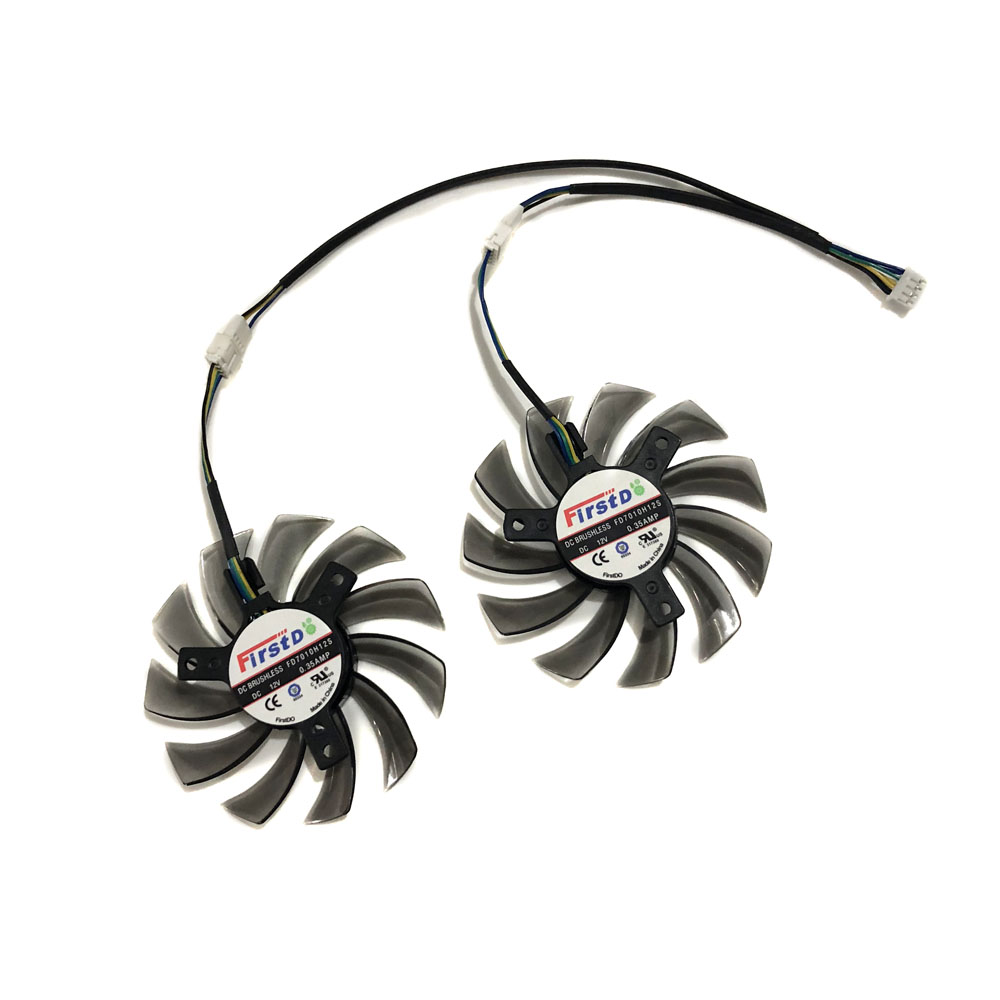 2pcs/lot 4Pin 75mm Gpu Cooler Video Graphics Card Fan For Asus Gtx650TI/GTX660/670 MSI R6790 Twin Frozr II As Replacement
