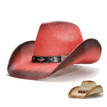 LUCKYLIANJI mujeres hombres Vintage ala ancha de paja Cowboy Cowgirl  occidental sombrero aleación banda de cuero (57 cm) 2521b1aa155