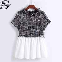 Sheinside 2 In 1 Babydoll Patchwork Plaid Blouse Autumn Round Neck Short Sleeve Cute Blouse 2017 Women's Casual Blouse