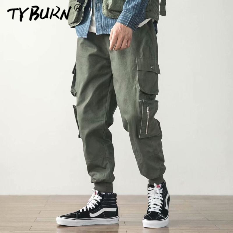 TYBURN Cargo Pants Men 2018 Mens Streetwear Joogers Pants Black Sweatpant Male Hiphop Autumn Pockets Trousers Overalls