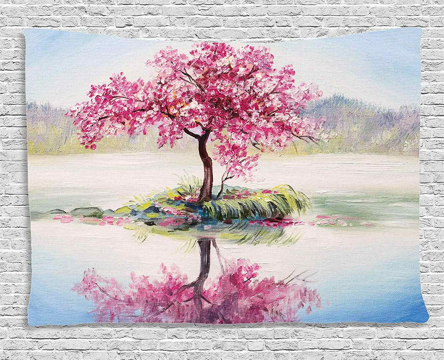 Tree Tapestry Pink Floral Decor Blooming Japanese Cherry Sakura on the Lake Soft Romantic Almond Tree Paint Effect Wall Hanging