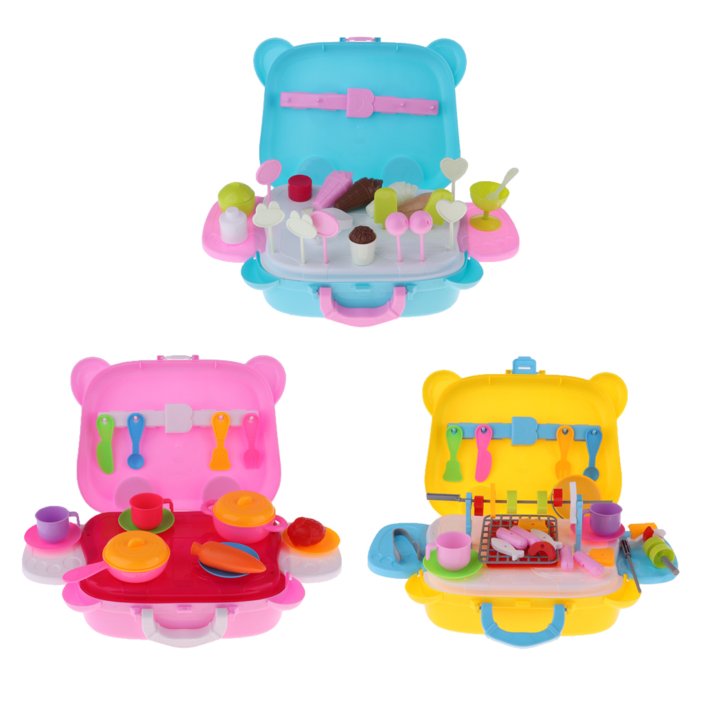 Plastic Pretend Food Boxes Ice Cream Trolley <font><b>Toy</b></font> With Pretend Food Assortment Set For Dolls House <font><b>Grocery</b></font> <font><b>Store</b></font> Life Scene Decor image