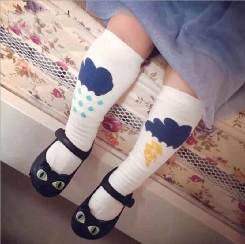 Toddler knee high sock Baby Boy Girl Socks anti slip Cute Lightning clouds Skid Resistance leg warmers For newborns infantile