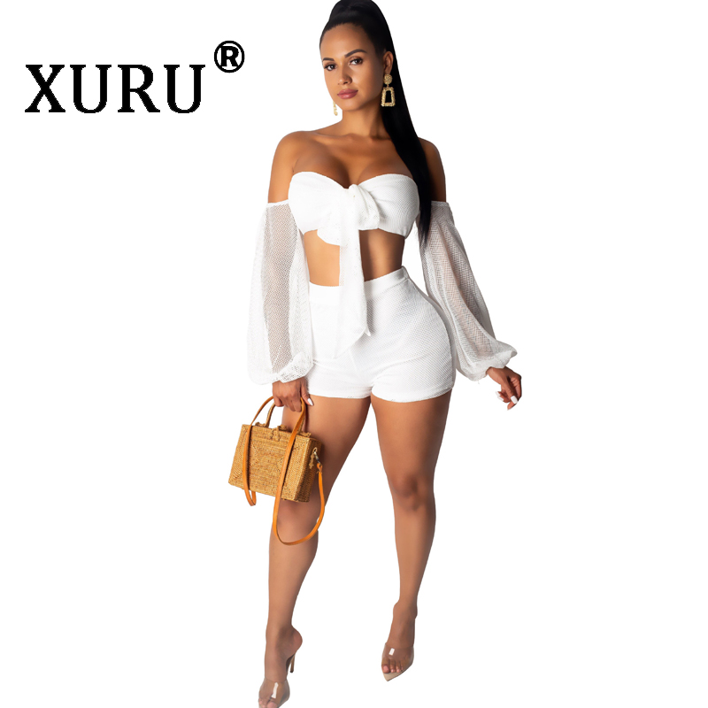 XURU Summer New Fashion Sexy Mesh Jumpsuit Two-piece Off-the-shoulder Breathable Women's Club Party Jumpsuit Set