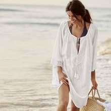 2018 Sexy Beach Cover up Crochet White Swimwear Dress Ladies Bathing Suit Cover ups Beach Tunic Saida de Praia цена