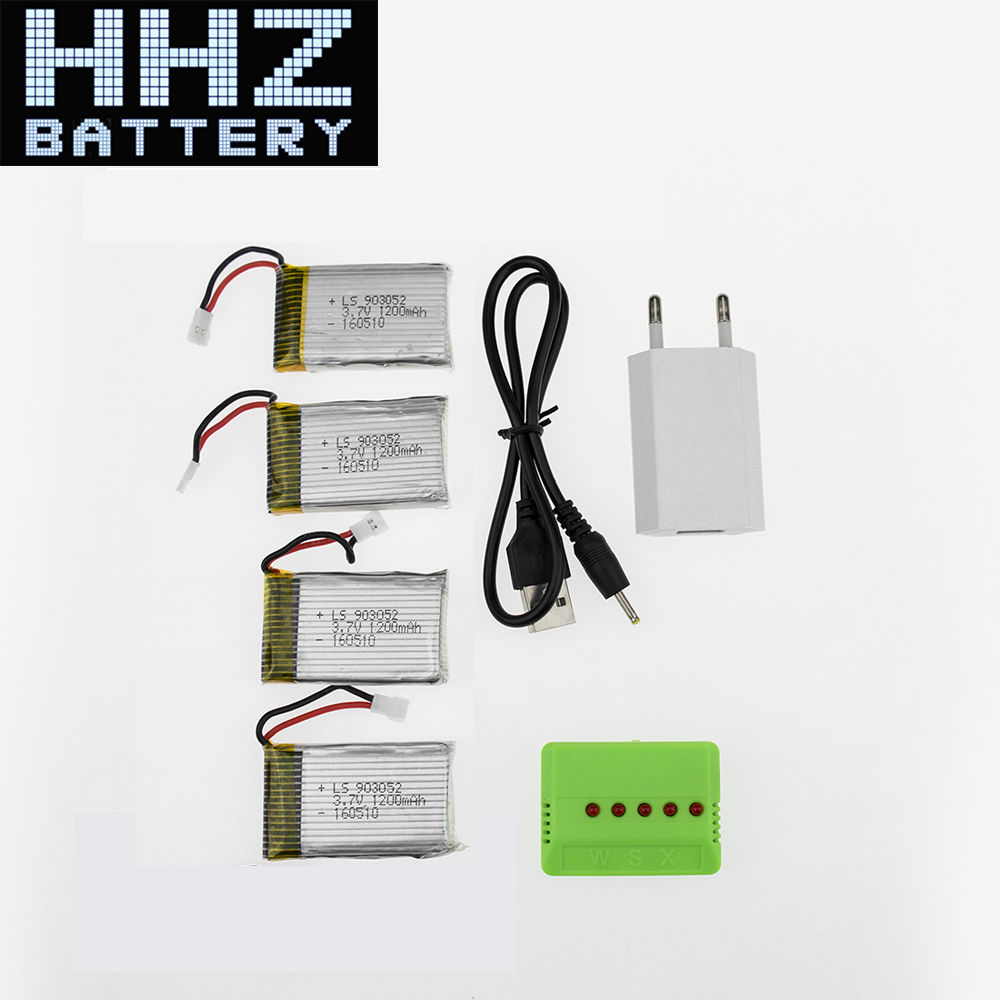 Top 4pcs <font><b>3.7V</b></font> <font><b>1200mAh</b></font> <font><b>Lipo</b></font> <font><b>Battery</b></font> With Charger Plug For Syma X5SW X5SC X5SC-1 RC Quad Drone <font><b>Battery</b></font> Keep Flying About 12 Min image