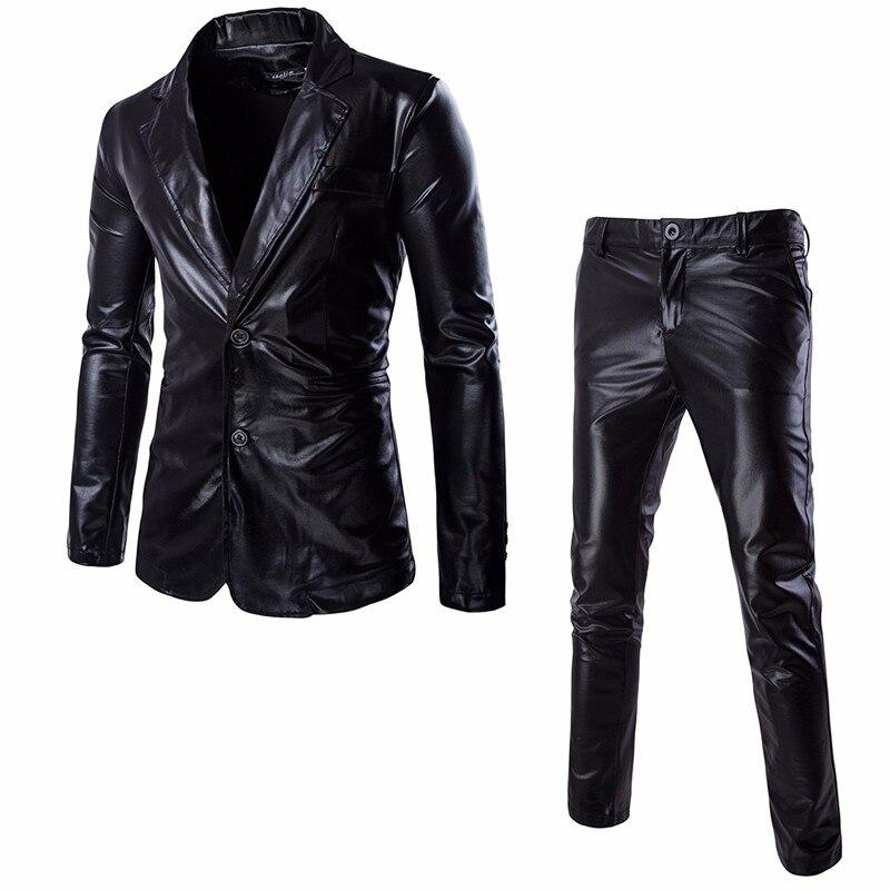 De Noir argent 2018 Sur Smoking Mesure or Enduit Costume 2 Bal Discothèque Costumes Pièce Métallique Mode Pantalon veste Hommes Brillant Partie xWUFq7wnR4
