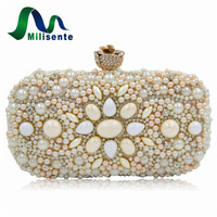 Women Wedding Purse Black Alloy Beaded Bags Dirty Pink Party Handbags Lady Day Clutches Small Evening