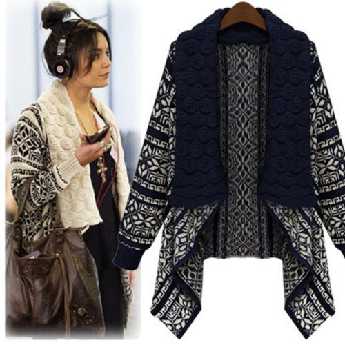 Long Sleeve Knitted Loose Casual Sweater Lady Cardigan ...
