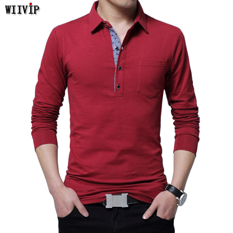 Mens New 95% cotton polo men 2017 Autumn long sleeve simple style casual mens polos Black Navy Gray Wine M-5XL y101