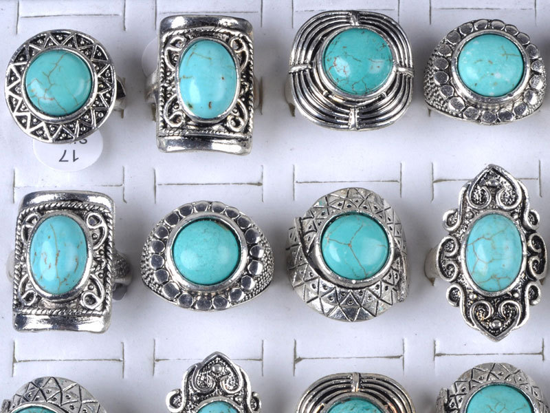 turquoise tibetan antique ring silver rings stone
