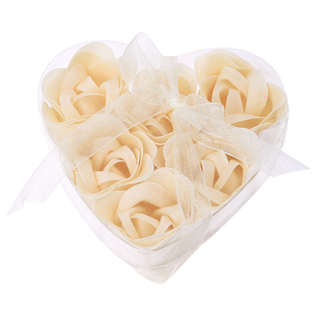 New 6 Pcs Bathing Shower Off White Rose Flower Bath Soap Petals W Heart Shaped Box