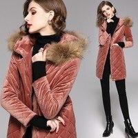 Winter New Fashion Women Thick Warm Cotton Padded Jacket Fur Hooded Diamond Plaid Velvet Long Parkas