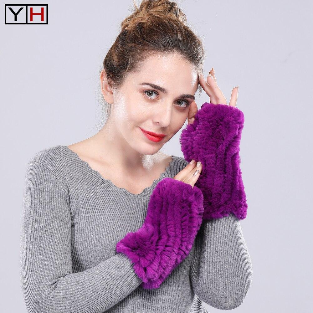 Genuine Real Rex Rabbit Fur Gloves Winter Women Handmade Knit Warm Rex Rabbit Fur Mittens Fingerless Mittens