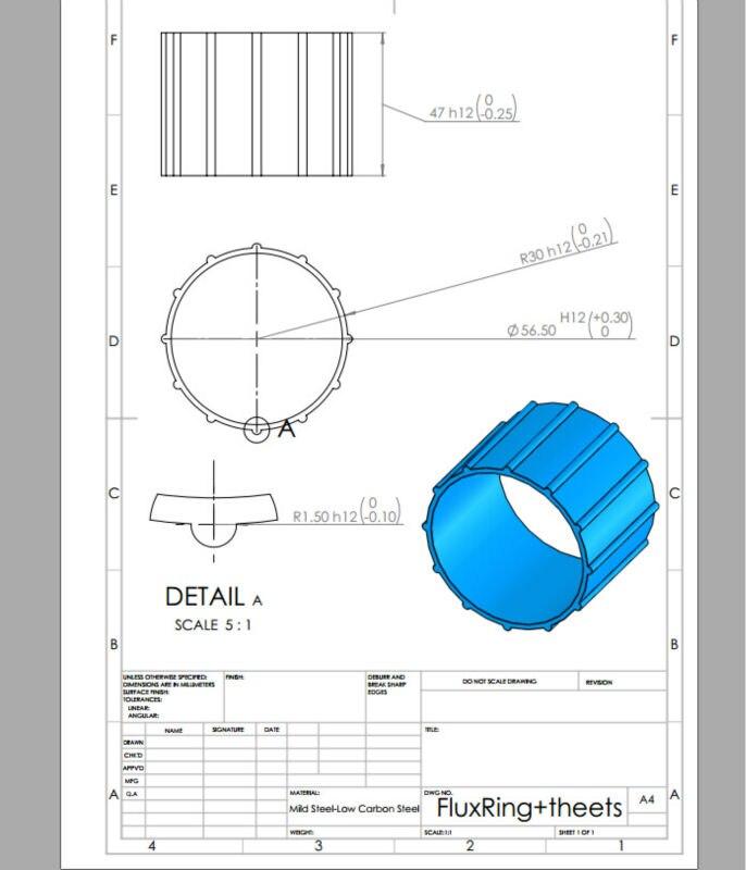 Material : Aluminum ,   FluxRing  56.5#47 mm     one piece bioinert material