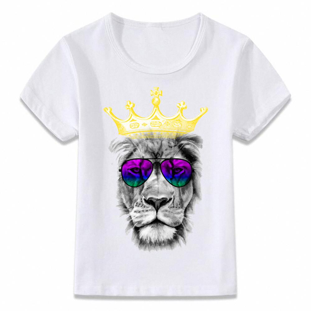 Kids Clothes T Shirt King Lion Tiger Wolf Predators Awesome Children T-shirt For Boys And Girls Toddler Shirts Tee Oal036
