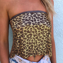 Sexy Metal Chest chain leopard crop top women Strapless beach party Backless summer tops mujer vintage night club sequin N