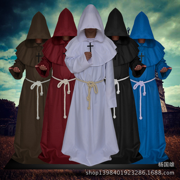 2017 new Stimulate terror Halloween Ball cosplay costume medieval monks Hoodie robes wizards Witch priests Christians maix dress