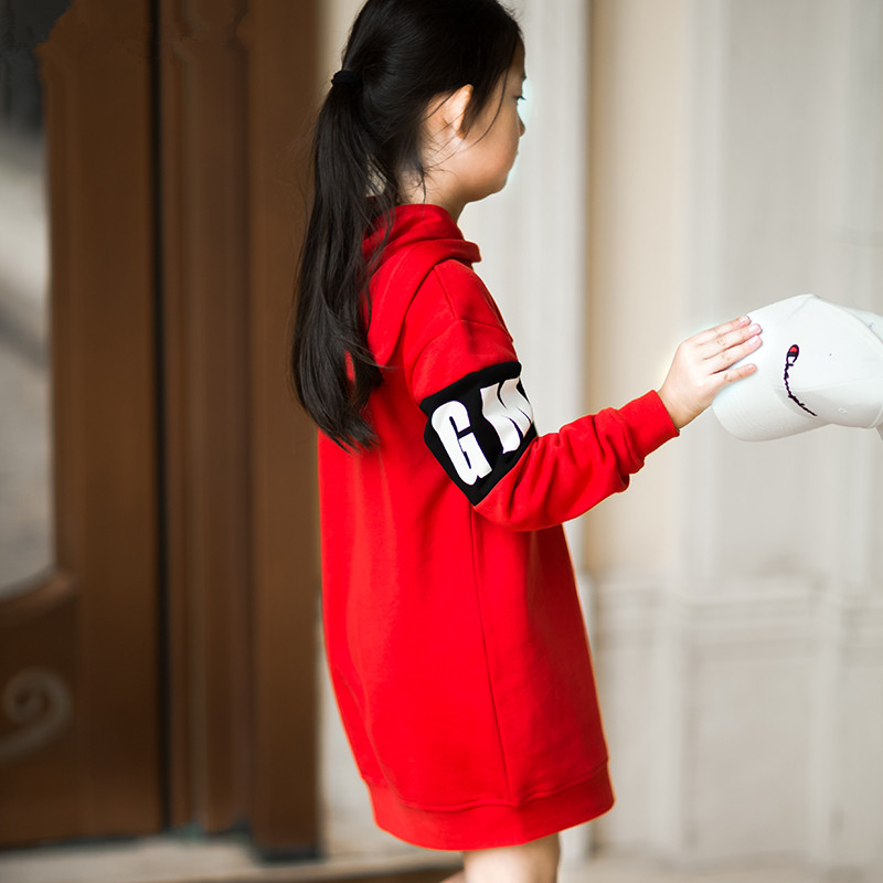 Adult and kid's Long sweater Girl's Cotton red sweater hoodie