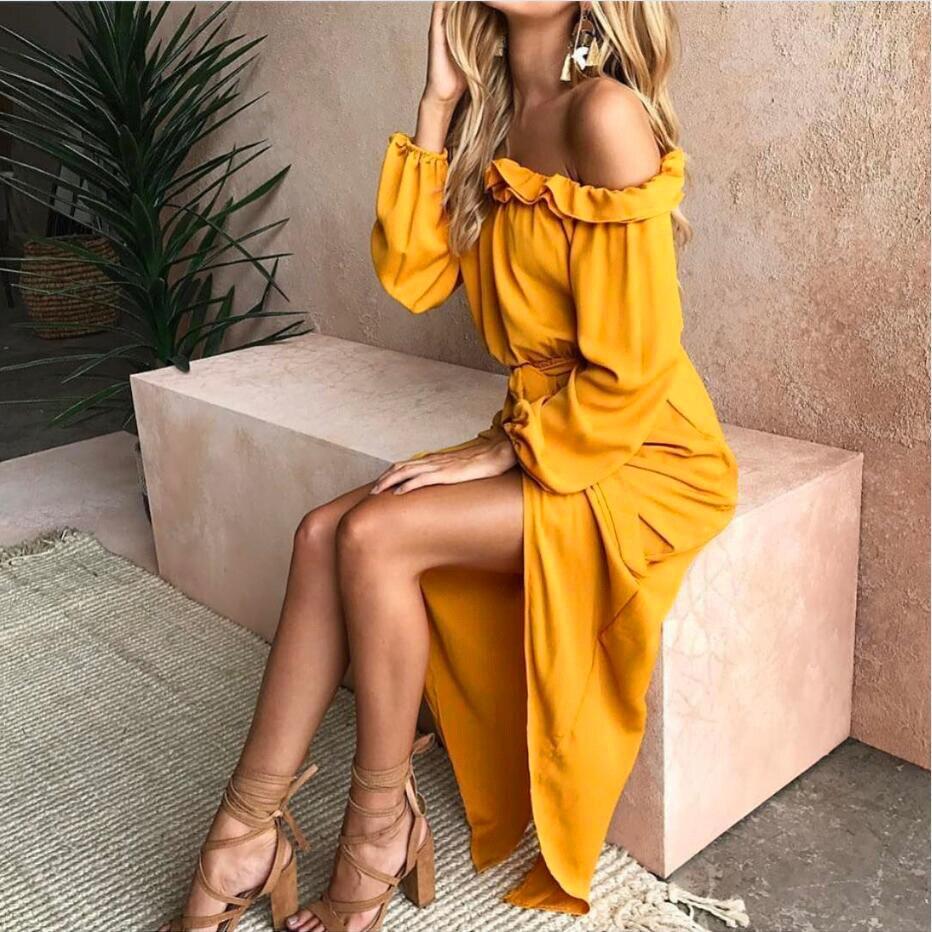 2019 Mode 2019 Neue Stil Sexy Lange Kleid Frauen Weg Schulter Slash Neck Solid Gelb Sommer Strand Frauen Kleider Looes Maxi Kleid Vestidos