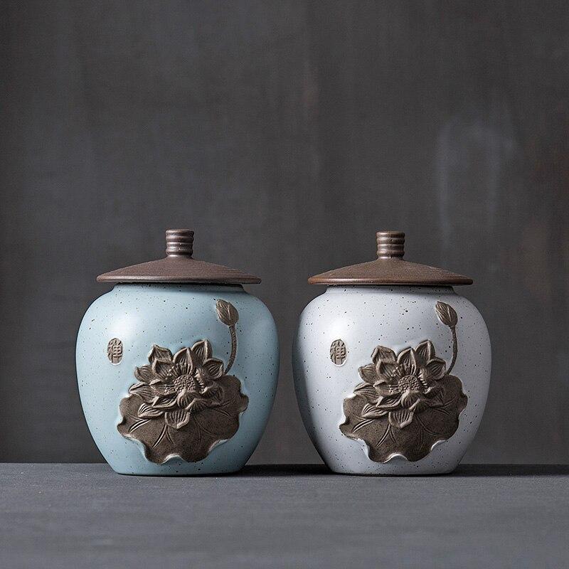 2017 China Lotus hochwertige TeaSet keramik tee-kanister Geschenk vorratsglas teedose Zuckerdose salzstreuer lagerung tank dosen