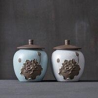 2018 Chiny Lotos Wysokiej jakości TeaSet ceramiczne herbaty kanistra Prezent przechowywania przechowywania jar Herbata caddy solniczka Sugar Bowl zbiornik puszki