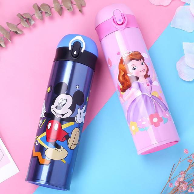 Disney 500ML Thermos Feeding Bottle Vacuum Flask Insulation Feeding Cup My Bottles Leak-<font><b>poof</b></font> Student Thermos Cup Car Kettle image