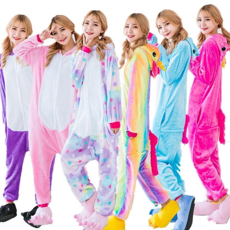 Unisex Adult Winter Unicorn   Pajamas   2018 Animal   Pajama     Sets   Sexy Hooded Homewear Flannel Sleepwear Female Cute Cartoon Pyjama