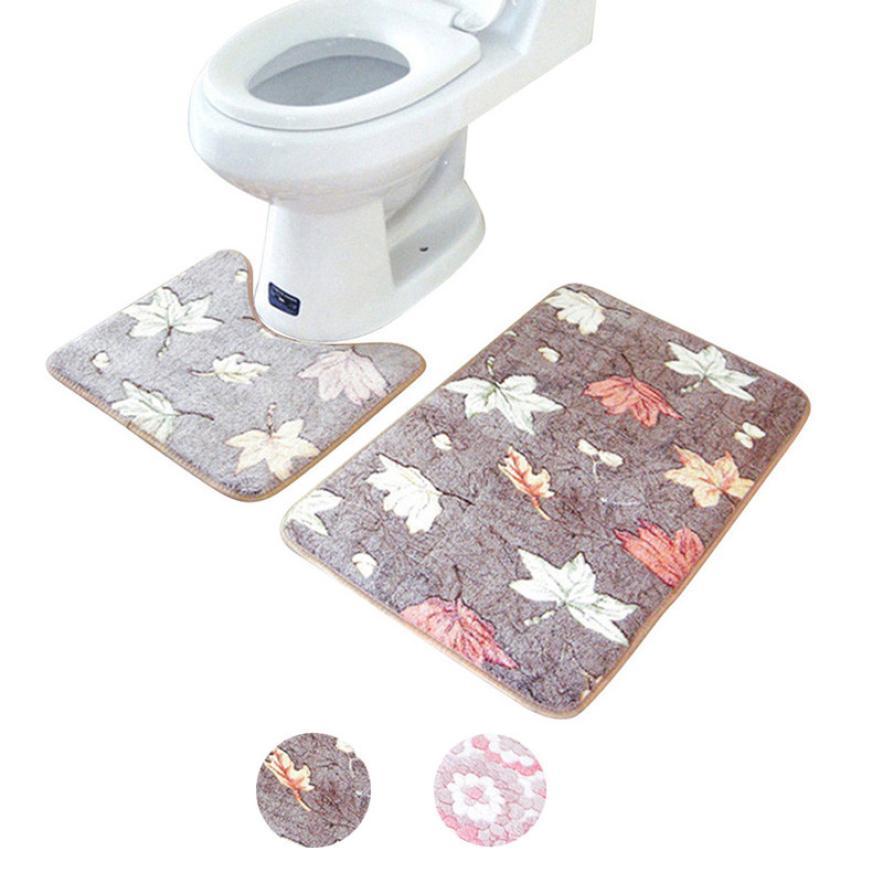 Bathroom mat 2018 New Fashion Kitchen Dining Bar 2PCS Rug Memory Foam Bathroom Rug Mat Floor Carpet Set Leaves Hot Apr23