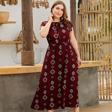 CUERLY Boho print long plus size dress women Summer o neck lace up loose retro dresses Casual holiday ladies vestidos 2019 casual women o neck pocket summer asymmetric baggy plus size retro long harajuku dresses loose female
