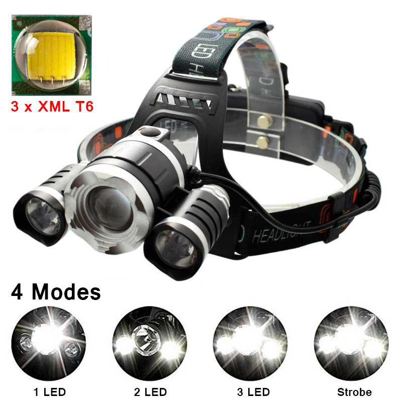 3 LED Headlight XM-L T6 + 2*Q5 Rechargeable Headlamp Flashlight Frontal 18650 Zoomable 4 Modes Head Lamp Light Torch for Fishing r3 2led super bright mini headlamp headlight flashlight torch lamp 4 models