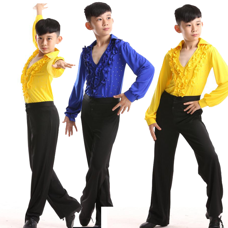 8b4743990120 Mens Latin dance tops Latin dance costumes childrens boys competition suit costumes  mens adult dance national ...