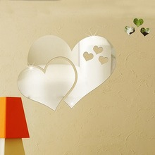 Wall Sticker 3D Mirror Wall Stickers Love Heart Wallpaper Art DIY Home Decal Room Mural Decor