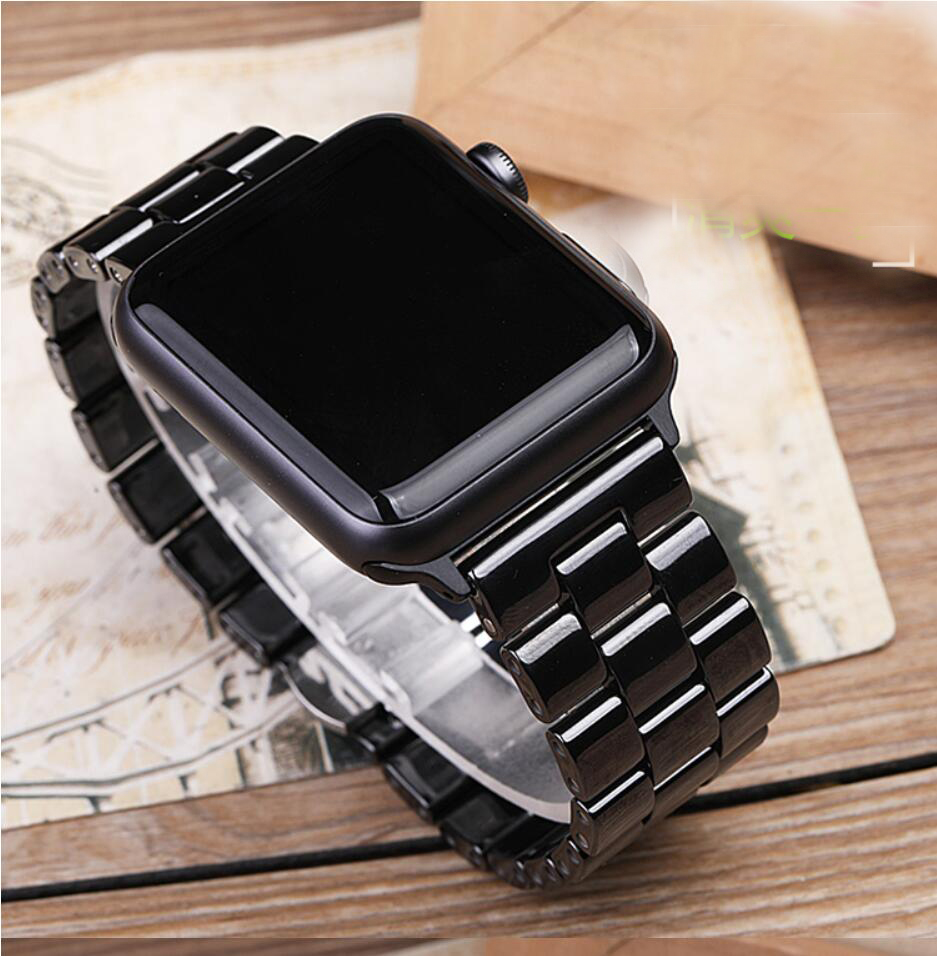 New Ceramic Watch Band For Apple Watch 40mm 44mm 38mm 42mm Butterfly Buckle Chain Style Bracelet Band For Iwatch Series 4 3 2 1