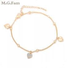 MxGxFam(22 см+ 5,5 см) Мода 18 K сердце ножной браслет женский кристалл для без свинца и никеля