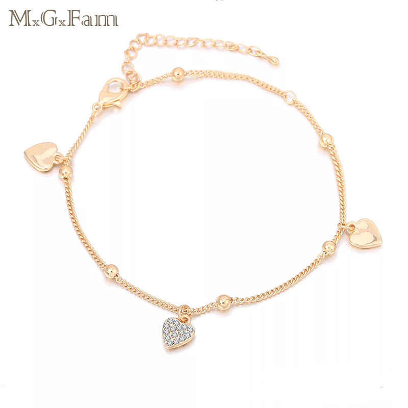 MxGxFam ( 22 cm +5.5cm ) Fashion 18 K Heart Anklet Bracelet Women Crystal  For Lead and Nickel Free