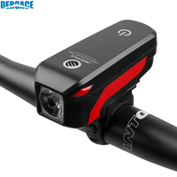 DEROACE Bicycle Light Waterproof USB Rechargeable Bike Warning Flashlight 350 Lumen 140dB Bicycle Bell Bicycle Accessories