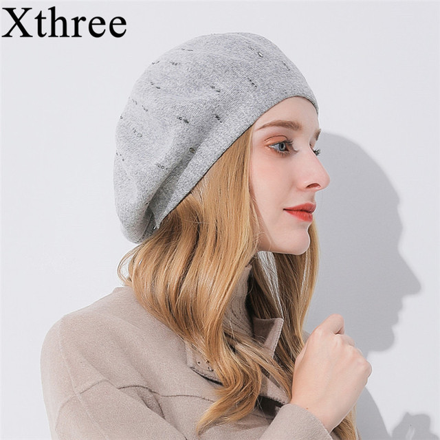 4fe91ec34ae Xthree winter women s hat Cashmere beret hat Rhinestone knitted beret hat  for girl fashion lady cap